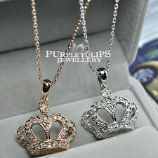 18CT Rose/White Gold GP Sparkling Crown Necklace W/ Clear SWAROVSKI Crystals