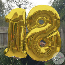 """18th Birthday Helium Foil Balloons 40"""" Large Party Decorations Float Gold Silver"""