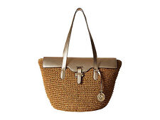 Kors $298 Naomi Straw & Leather Large Tote Bag in Pale Gold or Walnut Brown