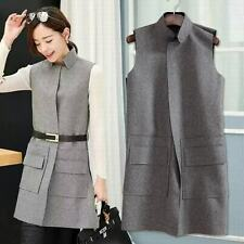 New Fashion Womens Sleeveless Vest Stand Collar Slim Fit Wool Blend Coats Trench