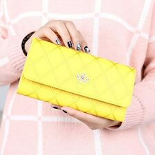 Women's PU Leather Crown Long Wallet Plaid Card Holder Case Purse Clutch Trifold