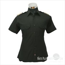 Genst Black Pilot Shirts Blended cotton Easy to iron uniforms Long sleeves Mens