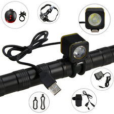Waterproof USB 5000lm XML T6 LED BICYCLE LIGHT TORCH BIKE MOUNTAIN LAMP 6400MAH