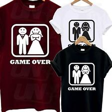 GAME OVER T SHIRT TOP TEE TSHIRT WEDDING COUPLES STAG HEN PARTY FUNNY NIGHT NEW