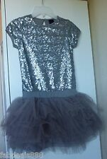 NEW! GIRLS PARTY DRESS AGE 8-9 Years 134cm GREY SILVER SEQUIN FRILL TUTU SKIRT