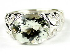 • SR360, Green Amethyst, East-West 925 Sterling Silver Ring - Handmade