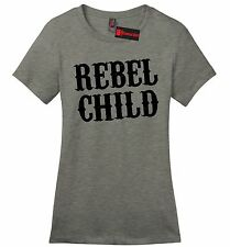 Rebel Child Ladies Soft T Shirt Country Music Redneck Tee Southern Rebel Gift Z4