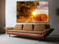"Straw Bale Huge Canvas print, up to 60""x40"", READY TO HANG, wall art decoration"