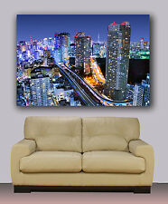 "Huge canvas print Tokyo night skyline Japan 30""x40"""