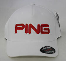 Ping Tour Structured Fitted Golf Hat - White Orange - Flex-Fit - NWT
