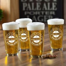 Personalized Custom Pub Bar Pint Beer Glass Set of 4 - 8 Designs 16oz