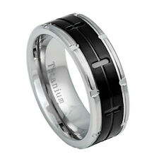 8mm Grooved Black IP Center Band Titanium Ring with Notched Edges / Gift box
