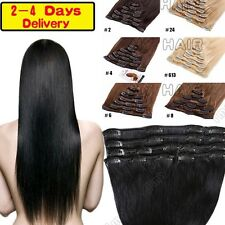 On Sale 100% Real Human Hair Clip in soft Remy Full Head Hair Extensions HQ390