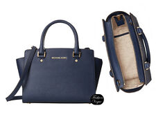 Michael Kors Selma LARGE Navy Blue Saffiano Leather with Gold Satchel RRP $479