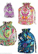 Vera Bradley Ditty Bag Gym Dirty Clothes Hair Lunch Drawstring Pink Green New