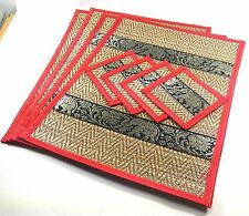 New Set4 Placemat Thai Elephant Reed&Silk Dining Table Mats&Drinks Coasters Gift