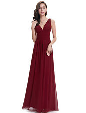 Plunging Sexy Burgundy Chiffon Long Bridesmaid Evening Party Dress Formal W1876