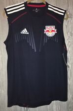 NEW Mens S ADIDAS MLS New York Red Bull Navy Blue Whi S/L Soccer Training Jersey
