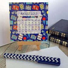 2017 mini desk calendar on easel with personalised tag - ideal Christmas present