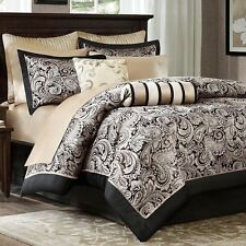 NEW Full Queen Cal King Bed 12pc Black Gold Paisley Comforter Sheets Set Elegant