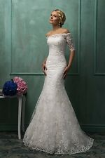 Lace Wedding Dress Boat Neck Half Sleeve Sweep Train Mermaid Bridal Gowns W1883