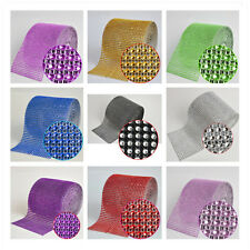 4.7'' 24 Rows 10 Yards DIAMOND MESH WRAP ROLL RHINESTONE CRYSTAL RIBBON  NEW