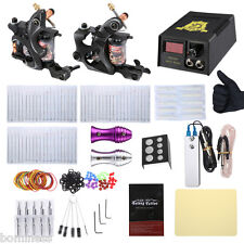 Tattoo 2 Machine Gun Shader Liner Complete Kit Power Supply 20 Needles