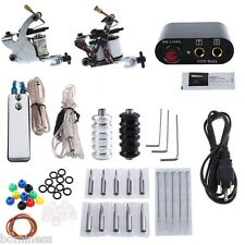 Tattoo Kit 2 Machine Gun Pigment Ink Tips Power Supply Set 20 Needle