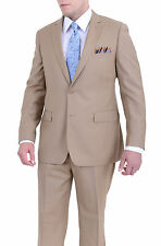 Men's Classic Fit Solid Tan Two Button Super 140's Wool Suit