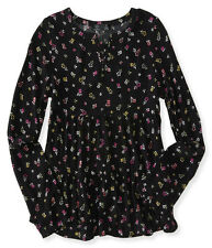 aeropostale kids ps girls' long sleeve floral ruffled peasant top black