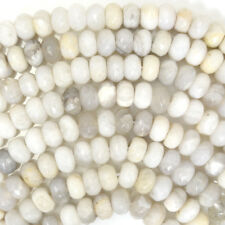 """Faceted Cream Crazy Lace Agate Rondelle Beads 15.5"""" Strand 4mm 6mm 8mm 10mm 12mm"""