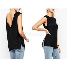 Sexy Women's Backless Sleeveless Tank Tops Casual T-shirt Blouse Holiday Tee
