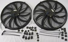 """Dual 16"""" Curved S-Blade Electric Heavy Duty Radiator Cooling Fans + Mounting Kit"""