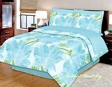 TROPICAL COASTAL BEACH OCEAN BLUE LIME PALM TREE LEAF 6-8p Comforter Set+Sheets