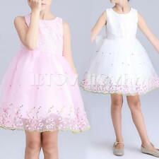 Embroidery Floral Flower Girls Kids Wedding Bridesmaid Dress Pageant Formal Gown
