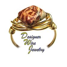 Lovely Natural Picasso Jasper Gemstone Artisan Gold Tone Wire Wrap Ring All Size