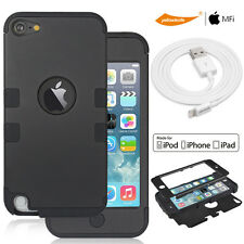 Premium Rugged Case Armor 9x HD Screen Film Charging&Sync Cable iPod Touch 5 6th