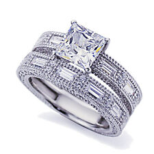 8mm Platinum Plated Silver 1.5ct Princess CZ Wedding Engagement Ring Bridal Set