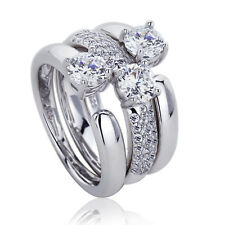 13mm Platinum Plated Silver 1.5ct CZ Wedding Engagement Bridal Ring set