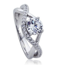7mm Platinum Plated Sterling Silver 1ct CZ Infinity Wedding Engagement Ring set