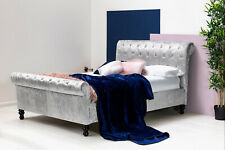 Luxury Scroll Sleigh Bed Diamante Silver/Black Crushed Velvet Fabric Double King