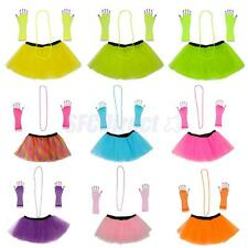 3pcs 1980s Adult Women Tutu + Gloves + Necklace Fancy Dress Halloween Costumes