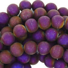 "Purple Druzy Agate Round Beads Gemstone 15.5"" Strand 4mm 6mm 8mm 10mm 12mm 14mm"