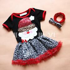 Xmas Santa Baby Girls Kids Dress Infant Leopard Print Headband Set 2PCS Clothes