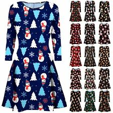 New Girls Womens Gingerbread Snowman Print Christmas Flared Xmas Swing Dress Top