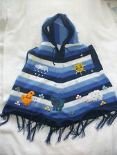 Made In Peru Brand New Cute Patchwork Arpillera Sleeveless Poncho with Hood