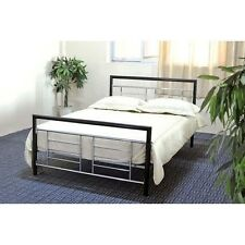NEW Twin Full Queen Metal Mattress Foundation Bed Frame Headboard Black Silver