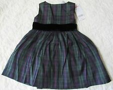 NWT GYMBOREE Green Plaid & Black Velvet HOLIDAY CLASSIC Dress 6-12 OR 12-18 mo