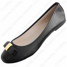 LADIES BLACK BOW DOLLY SHOES PU SLIP ON PUMPS WOMEN FLAT BALLERINA FAUX LEATHER