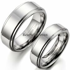 Silver Tungsten Carbide Polished Flat Ring Comfort Fit Ridged Edges Wedding Band